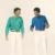 【服がかぶる】 (左)Nouveau Richeのニット、Junya Wantanabeのトラウザー (右)Nouveau Richeのニット、JW Andersonのトラウザー ふたりともベルトはスタイリストの私物